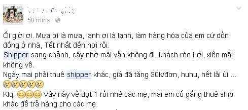 Dân buôn trên Facebook than thở không ngừng về việc thuê shipper những ngày mưa rét