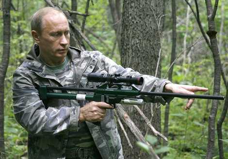 Tổng thống Vladimir Putin trong chuyến thăm khu bảo tồn thiên nhiên ở Nga năm 2008