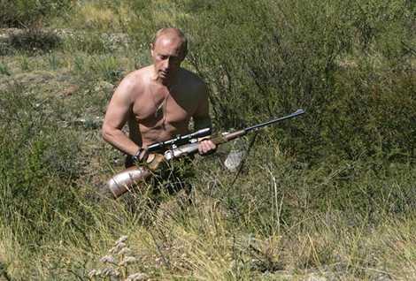 Tổng thống Nga Vladimir Putin đi săn trong khu vực phía tây dãy núi Sayan, tháng 8/2007