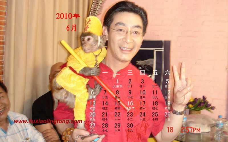Nghệ sĩ Lục Tiểu Linh Đồng với một chú khỉ con năm 2010.