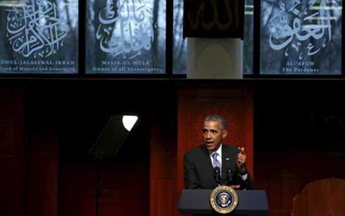 Tổng thống Mỹ Barack Obama phát biểu tại nhà thờ Hồi giáo Baltimore