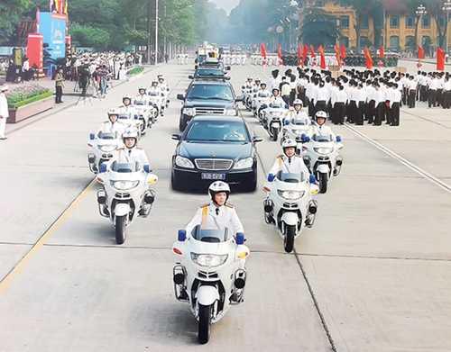 Đội môtô hộ tống tham gia diễu hành tại Quảng trường Ba Đình. Ảnh: Tư liệu BTL Cảnh vệ.