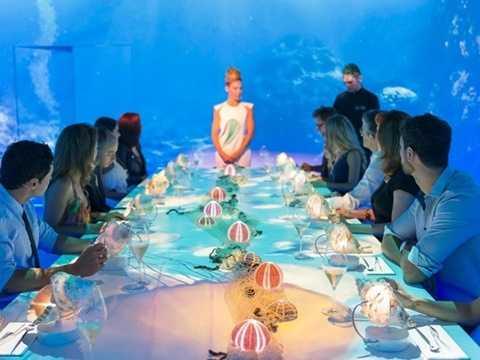 1. Sublimotion, Ibiza, Tây Ban Nha (thực đơn đắt nhất trị giá 3.377 USD/2 người, gồm 20 món): Nhà hàng đắt đỏ này thuộc khách sạn Hard Rock ở Ibiza, do bếp trưởng Paco Roncero điều hành. Với khoảng 25 nhân viên phục vụ, các thực khách sẽ có những trải nghiệm tuyệt vời như thưởng thức cocktail tự pha chế, ngắm hình chiếu 360 độ và các món ăn được chế biến theo kĩ thuật sáng tạo.