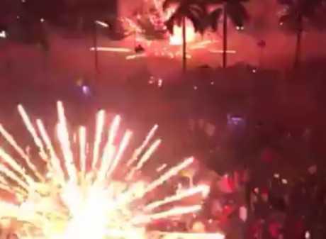 Hình ảnh bắn pháo hoa đêm giao thừa tại Quảng Ngãi