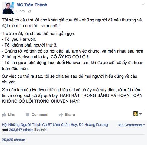Trấn Thành thừa nhận yêu Hari Won.