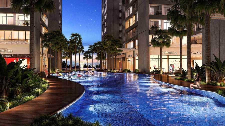 Bể bơi ngoài trời dài 80m là nơi cư dân thỏa sức thư giãn sau những giây phút làm việc căng thẳng.