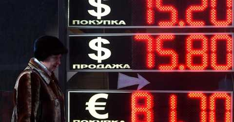 Niêm yết giá đồng rúp Nga với ngoại tệ quốc tế. Ảnh ngày 11/01/2016 - Reuters.