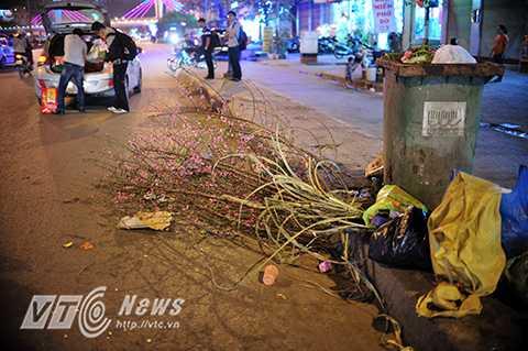 Không chỉ hoa đào, quất, nhiều thứ rác thải sau Tết không được thu dọn bốc mùi hôi thôi xộc vào mũi người đi đường.