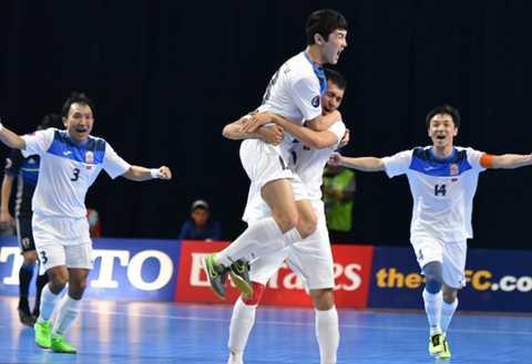 Niềm vui của các cầu thủ Kyrgyzstan