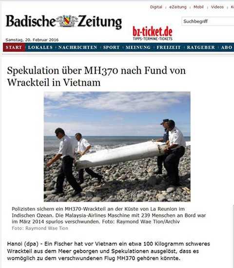 Một bản tin tiếng Đức trích nguồn từ DPA đưa tin ngư dân Việt Nam phát hiện thấy vật thể lạ có thể thuộc về chiếc Boeing MH370.