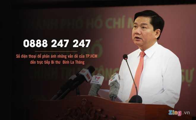 Số điện thoại đường dây nóng của Bí thư Thành ủy TP HCM Đinh La Thăng (Nguồn ảnh: Zing)