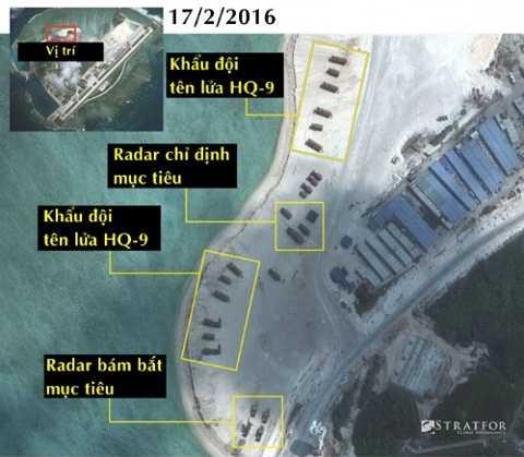 Ảnh vệ tinh cho thấy Trung Quốc bố trí hệ thống tên lửa HQ-9 tại đảo Phú Lâm, thuộc quần đảo Hoàng Sa của Việt Nam