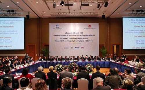 """Lễ công bố báo cáo """"Việt Nam 2035 - Hướng tới thịnh vượng, sáng tạo, công bằng và dân chủ"""", sáng 23/2 tại Hà Nội - Ảnh: VGP."""
