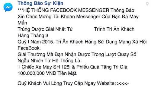 Một tin nhắn lừa đảo từng xuất hiện ồ ạt trên mạng xã hội facebook một thời gian dài