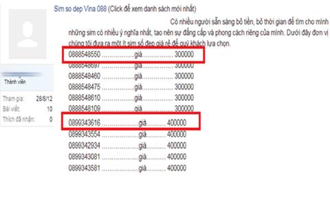 Rầm rộ rao bán sim đầu 088 và 089 trên mạng với đủ mức giá