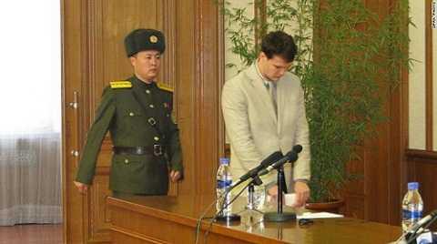 Otto Warmbier tại buổi họp báo sáng 29/2 – Ảnh: DPRK