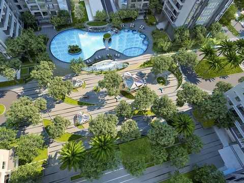 Quảng trường Sapphire nhìn từ trên cao như một khu nghỉ dưỡng cao cấp.
