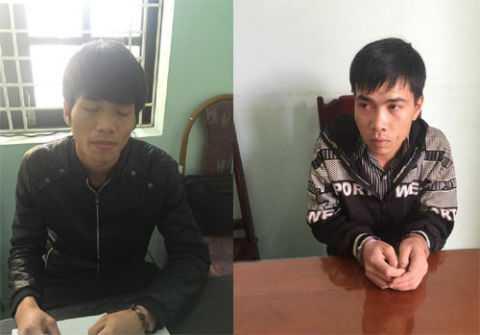 Hoàng Văn Trí, Thái Thanh Bình tại cơ quan công an. Ảnh: Công an Thanh Hóa