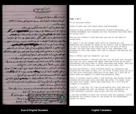 Bức thư trùm khủng bố gửi đến người Mỹ