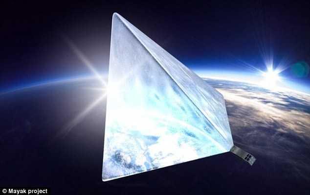 Mô hỏng hoạt động của vệ tinh phản chiếu ánh sát Mặt trời trong dự án Mayak (Nguồn: Daily Mail)
