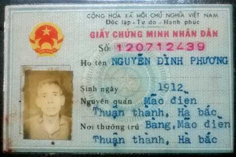 Chứng minh thư ghi sinh năm 1912 của cụ Phương