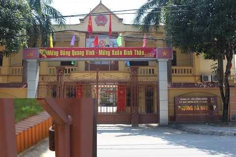 Chưa hết giờ làm việc nhưng cổng UBND phường Hà Huy Tập khóa trái