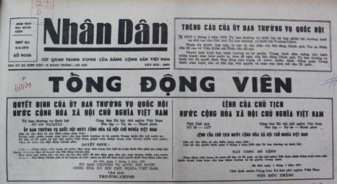 Quyết định tổng động viên của Ủy ban thường vụ Quốc hội và Lệnh tổng động viên của Chủ tịch nước được đăng trên báo Nhân Dân ra ngày 6/3/1979