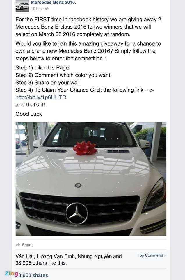 Hàng chục nghìn người bị lừa trúng xe Mercedes trên Facebook