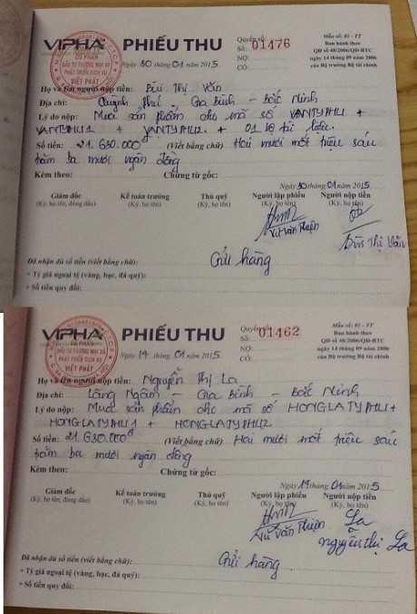 Những phiếu thu hàng chục triệu đồng của công ty VIPHA VN