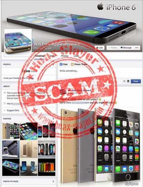 Fanpage giả mạo và lừa đảo về iPhone 6/ iPhone 6 Plus