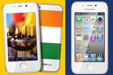 Điện thoại Freedom 251 (trái) và chiếc Adcom Ikon 4. Ảnh: Scoopwhoop.