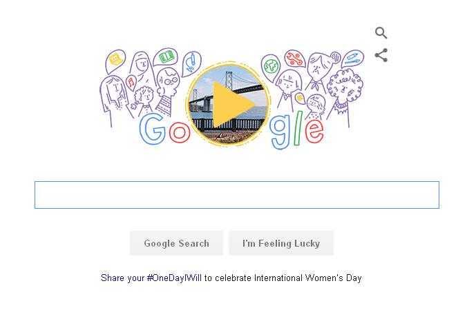 Hình ảnh doodle mới của Google nhằm kỷ niệm ngày Quốc tế Phụ nữ 8/3 năm 2016