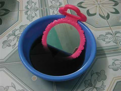 Một chiếc gương và chậu nước   pha mực cũng sẽ giúp bạn quan sát nhật thực
