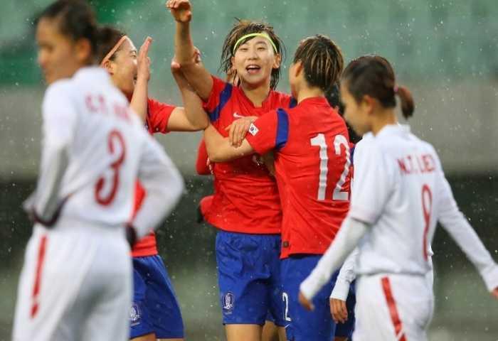 Tuyển nữ Việt Nam thất bại trước Hàn Quốc. (Ảnh: AFC).