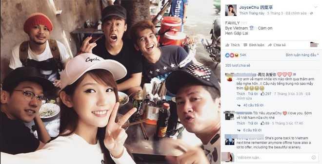 Joyce Chu chụp ảnh cùng bạn bè tại Việt Nam. Ảnh chụp màn hình.