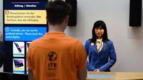 Rô bốt Chihira Kanae sẽ được đặt ở quầy thông tin để trả lời các câu hỏi của khách hàng.
