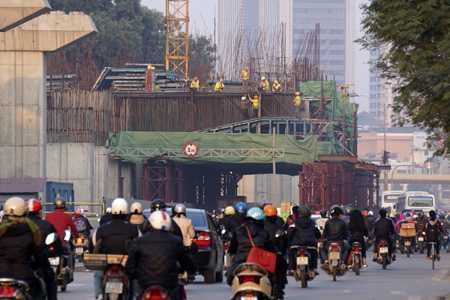 Đường sắt Cát Linh - Hà Đông đang gấp rút thi công các nhà ga  (ảnh: Hữu Nghị)