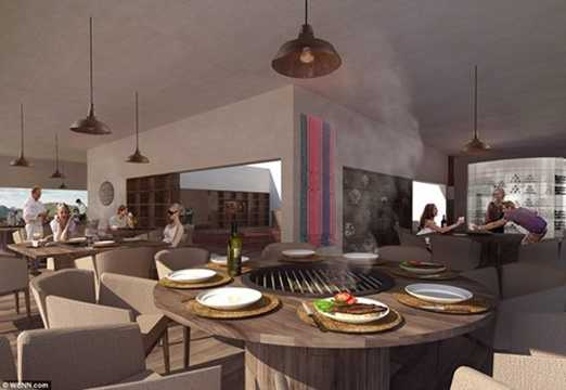 Sau khi thưởng thức các món ăn, du khách có thể đi lên tầng quan sát trên lầu. Không gian này vô cùng thoải mái với nhiều bàn, ghế và một hồ bơi.