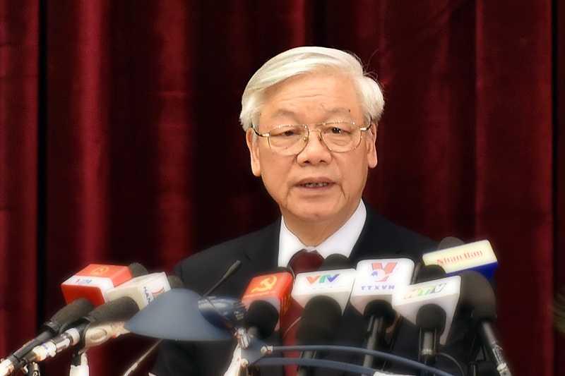 Tổng Bí thư Nguyễn Phú Trọng phát biểu bế mạc Hội nghị. Ảnh: VGP/Nhật Bắc