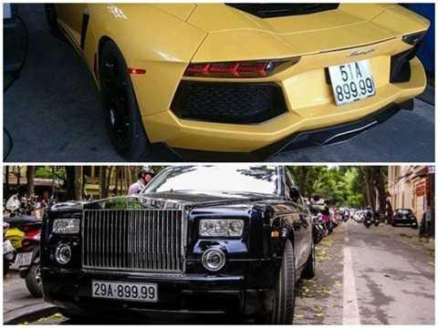 Hai mẫu xe siêu sang Lamborghini   Aventador và chiếc Rolls-Royce Phantom đều trị giá tới 26 tỷ đồng và có   trùng biển số với những số cuối rất đẹp 8.9999. Siêu xe Lamborghini   Aventador LP700-4 màu vàng là chiếc Aventador đầu tiên về Việt Nam, hồi   tháng 6/2012. Ở Việt Nam hiện có hai chiếc Aventador đều thuộc sở hữu   của đại gia sống ở Sài Gòn.