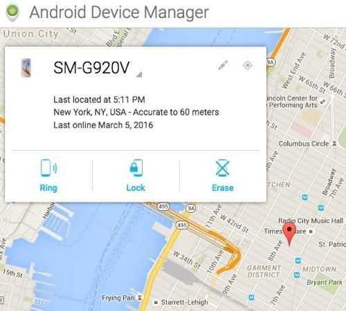Android Device Manager của Google cung cấp chức năng tương tự. Ảnh: Yahoo News.