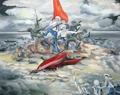 Bức tranh miêu tả cuộc chiến đấu bảo vệ đảo Gạc Ma 14/3/988 (đang được treo tại Phòng Truyền thống của Vùng 4 Hải quân)