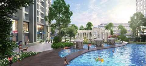 Bể bơi trung tâm dài 50m tại khu căn hộ The Arcadia – Vinhomes Gardenia