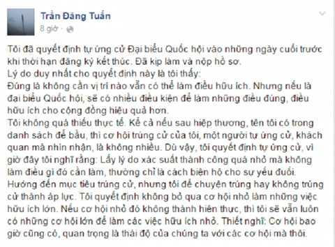 Dòng trạng thái được cho là viết bởi ông Trần Đăng Tuấn.