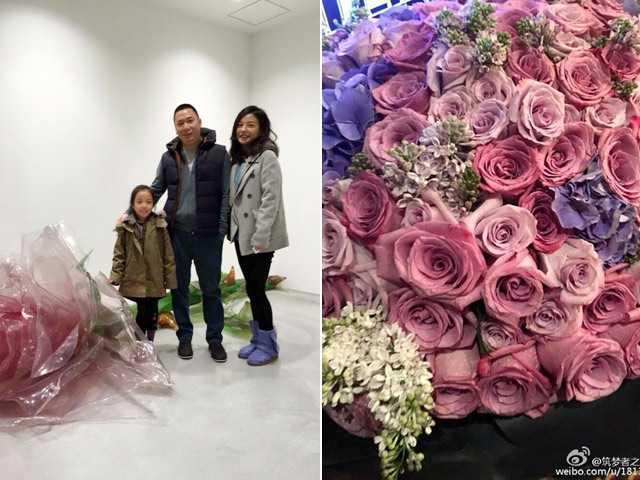 Cận cảnh bó hoa của Triệu Vy. Ảnh: Sina.
