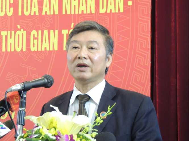 Phó chánh án Nguyễn Sơn cho biết TAND tối cao đã và đang kêu gọi người dân tố cáo hành vi sai phạm của cán bộ ngành tòa án - Ảnh: T.L