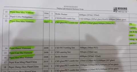 Bảng giới thiệu cho thấy Pepsico nhập máy móc thiết bị sản xuất Trà Ô Long Tea+Plus từ Trung Quốc.
