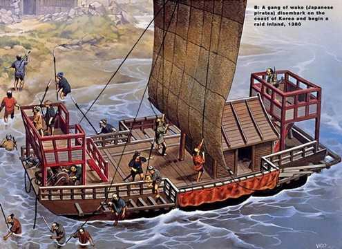 Một con thuyền của cướp biển Nhật Bản đổ bộ vào bờ biển Triều Tiên, chuẩn bị cho một cuộc cướp phá trong đất liền, năm 1350.