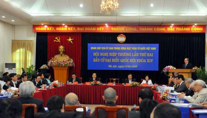 Đoàn Chủ tịch Ủy ban Trung ương MTTQ VN hội nghị hiệp thương lần thứ 2 - Ảnh: Hoàng Long