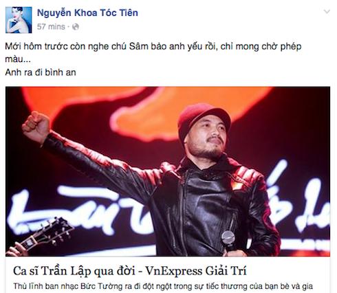 Tóc Tiên mong Trần Lập ra đi bình an.